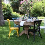 שולחן אוכל עגול טבעי נפתח