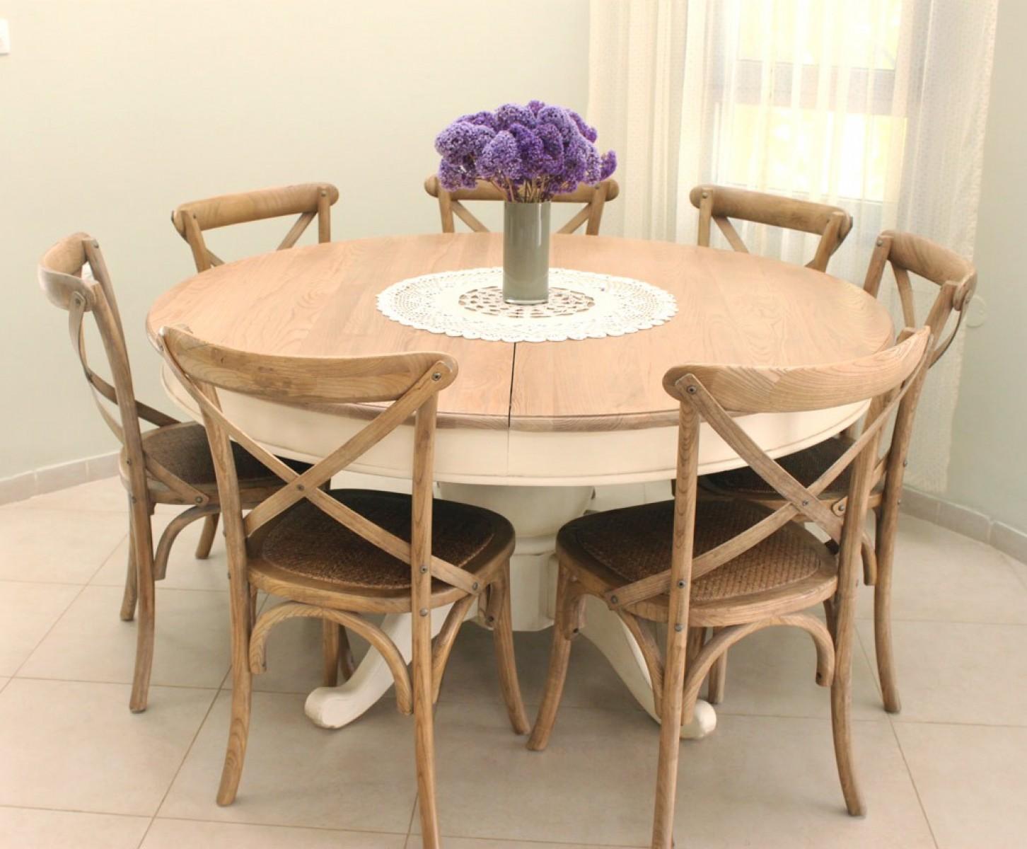 שולחן עגול נפתח בצבע שמנת