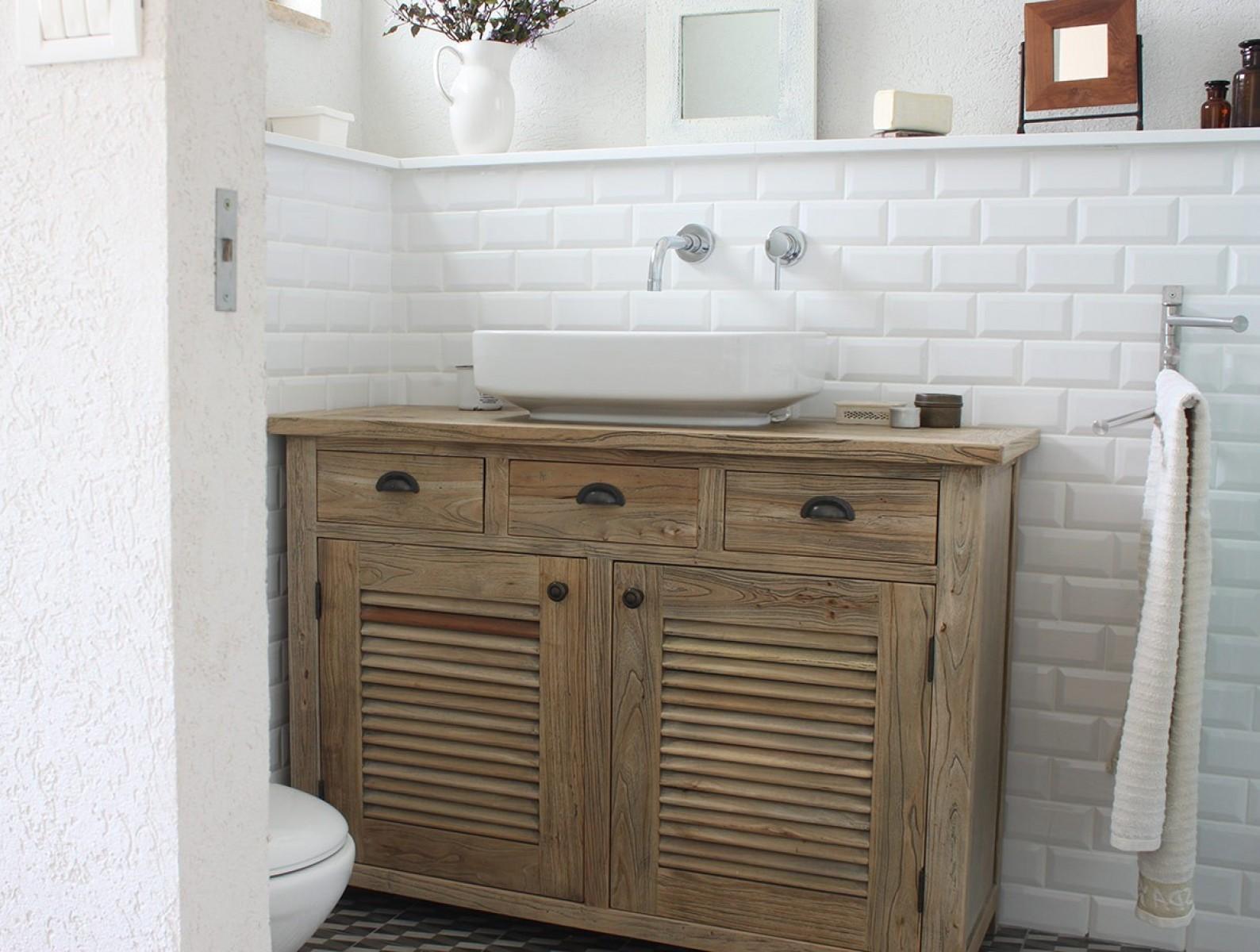 ארון אמבטיה מעץ מלא טבעי ELM