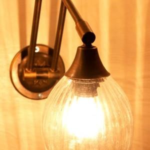 מנורת קיר מתכווננת פליז וזכוכית