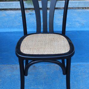 כסא איקס שחור מרופד ראטן