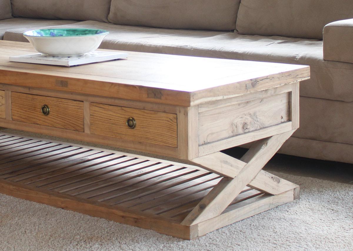 שולחן סלון 4 מגרות עץ אלם