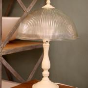 מנורת שולחן שמנת אהיל זכוכית