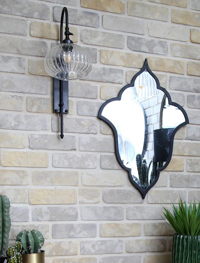 מנורת קיר מושחרת אהיל זכוכית