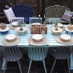 שולחן וכסאות מאלומיניום לגינה