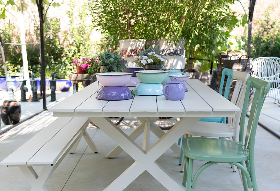 שולחן אלומיניום לבן קבוע 3
