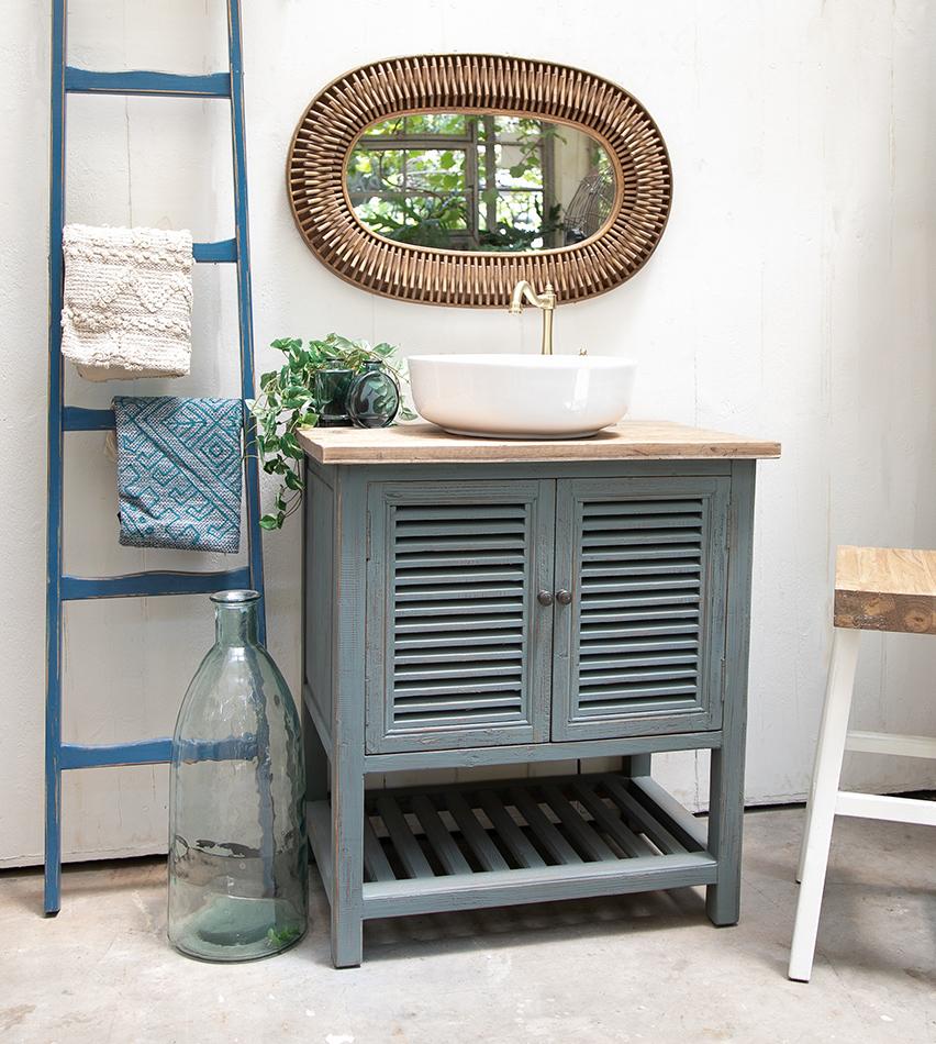 שידת אמבטיה כחול ווש